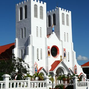 White, with two towers church in Samoa
