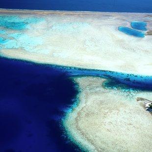 Aerial view of Godfreys Island in Solomon Islands