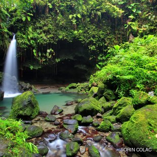 Unearthly beautiful natural waterfall in Dominica