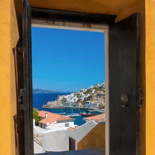 View Through an Open Door – Port of Hydra