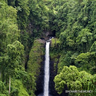 Hidden waterfall in the tropical forest
