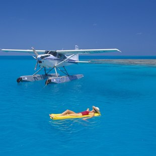 Woman and seaplane