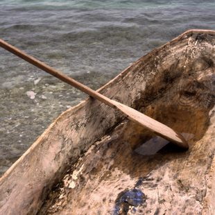 Primitive, home made dugout canoe