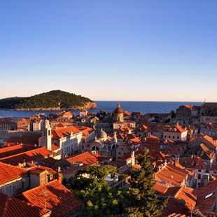 Dusk Light Illuminating Dubrovnik's Old Town