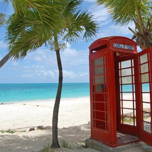 Red phone box on Gibbes Beach, Barbados