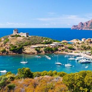 Yachts Anchored in the Beautiful Bay of Girolata