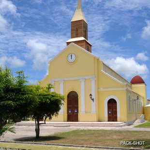 Interestingly designed yellow catholic church