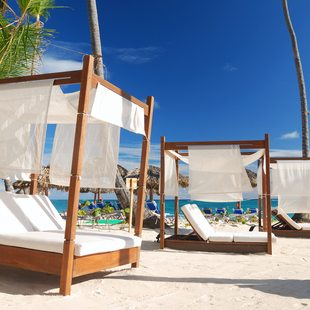 Luxury sunbeds on a private Bahamas beach