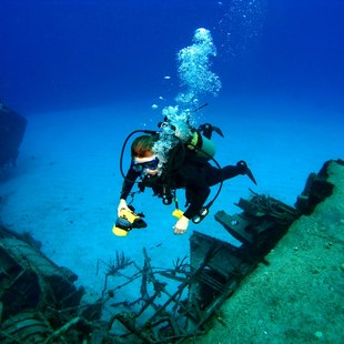 Female diver admiring the shipwreck in the bottom of the sea