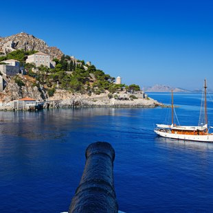 Traditional Sailing Boat off Coast of Hydra