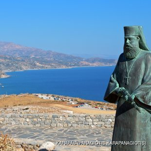 Bronze Statue of Priest on the Coast of Crete