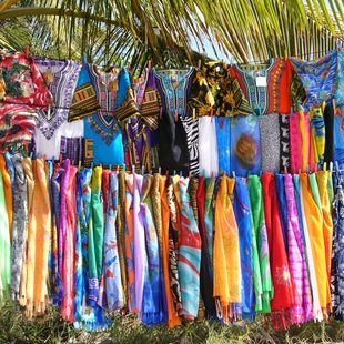 Colourful market stall in Antigua