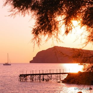 Sunset over a Jetty in Lesbos
