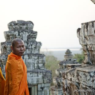 Two monks in Angkor Wat