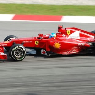 F1 Ferrari car with Fernando Alonso as a driver during the race