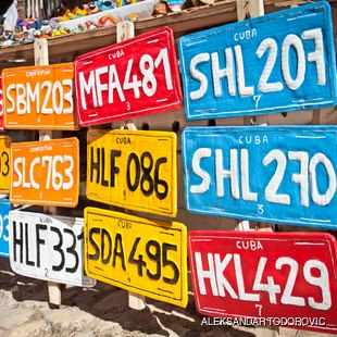 Colourful Cuban vehicle registration plates for sale