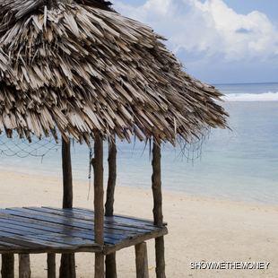 Primitive beach hut