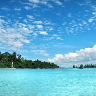 Bay with intensively azure water