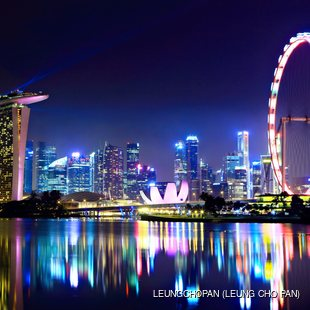 Lighted Singapore by night