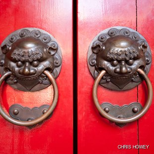 Dragon knockers on the red door