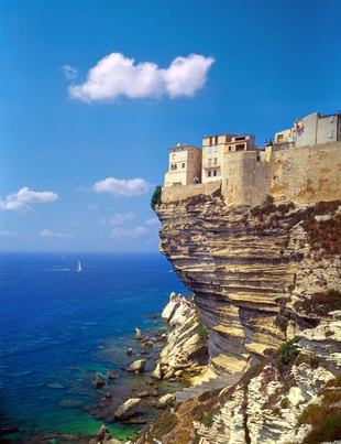 Buildings of Bonifacio Perched on the Corsican Cliffs