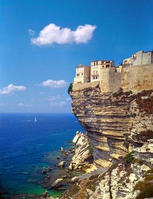 Buildings of Bonifacio Perched on the Corsican Cliffs