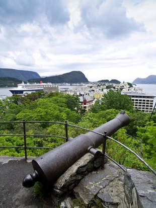 Cannon on old walls in the port city