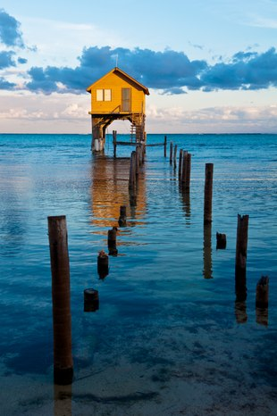 Wooden home in the ocean