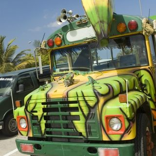 Creatively painted bus on Aruba