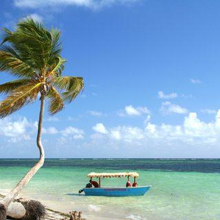 Small blue tourist boat