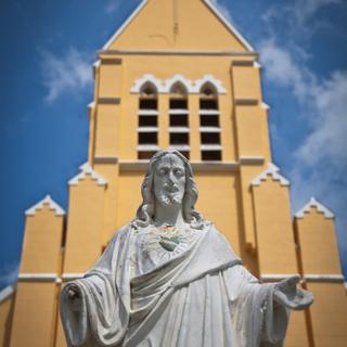 Statue of Jesus Christ and Church