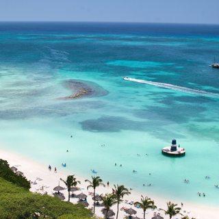 Tourist Aruba island on Caribbean sea