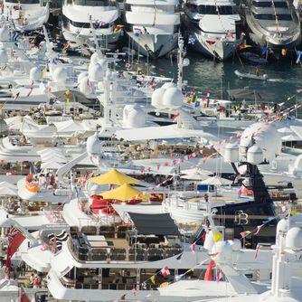 Superyachts track-side at Monaco Grand Prix