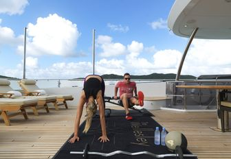 there is so much space on the decks of superyacht the wellesley where guests on a cruise in mallorca can spend some energy and keep up with their fitness routine