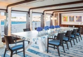 Dining table on luxury yacht MADSUMMER