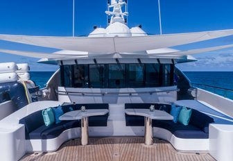 Covered seating area on sundeck of Superyacht BACA