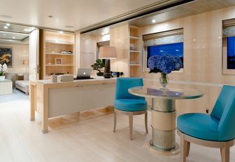 light and airy office forms part of the master suite on board charter yacht 'Step One'