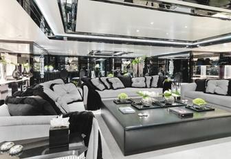 monochrome skylounge on board superyacht Silver Angel