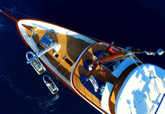 the bow boasting luxurious foredecks and motor yacht clarity's water toys
