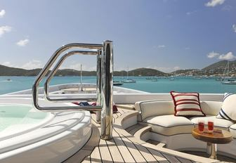 Owner's deck Jacuzzi on board luxury yacht TV