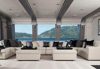 The monochrome interior of luxury yacht SLIPSTREAM