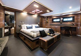The master cabin on board luxury yacht ROXSTAR