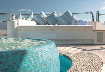 mosaic-clad Jacuzzi on private Owner's deck on board superyacht SOLANDGE