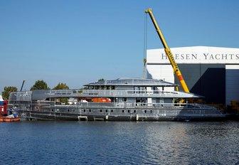 Motor yacht ERICA undergoing work in the Heesen shipyard