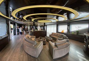 main salon on luxury yacht babas during bahamas yacht charter show