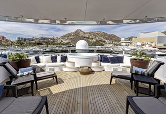 sun loungers and Jacuzzi on the sundeck of superyacht Azteca II