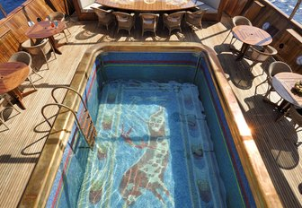 close up of Christina O's mosaic decorated swimming pool and beach club