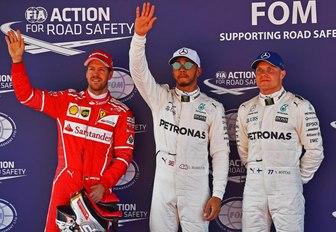 Lewis Hamilton on podium with other podium finishers at Barcelona Grand Prix 2017