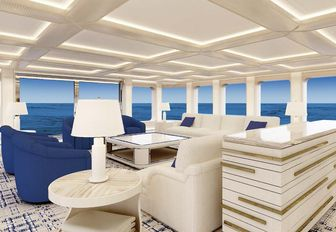 the breezy and bright upper lounge on charter yacht aquarius perfect for hosting lavished cocktail parties