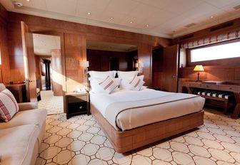 Master cabin on superyacht ELEMENT